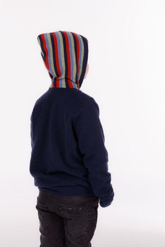 Childrens possum and merino.  A full zip hoodie in bright, fun colours.  Features a striped hood that is generous in size.  This item caters for a range of children's sizes, and due to its light weight is great to wear every day.