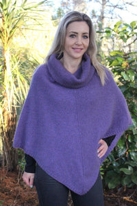 Heather Cowl Neck Poncho