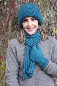 Teal Ribbed Clouche Hat