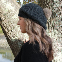 Load image into Gallery viewer, Charcoal side view Relaxed Cable Beanie with Rabbit Fur Pompom
