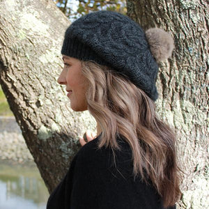 Charcoal side view Relaxed Cable Beanie with Rabbit Fur Pompom