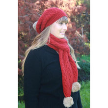 Load image into Gallery viewer, Pumpkin Relaxed Cable Beanie with Rabbit Fur Pompom