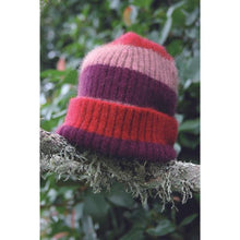 Load image into Gallery viewer, Childs Stripe Rib Beanie Red