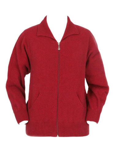 Red Plain Zip Cardigan with Pockets