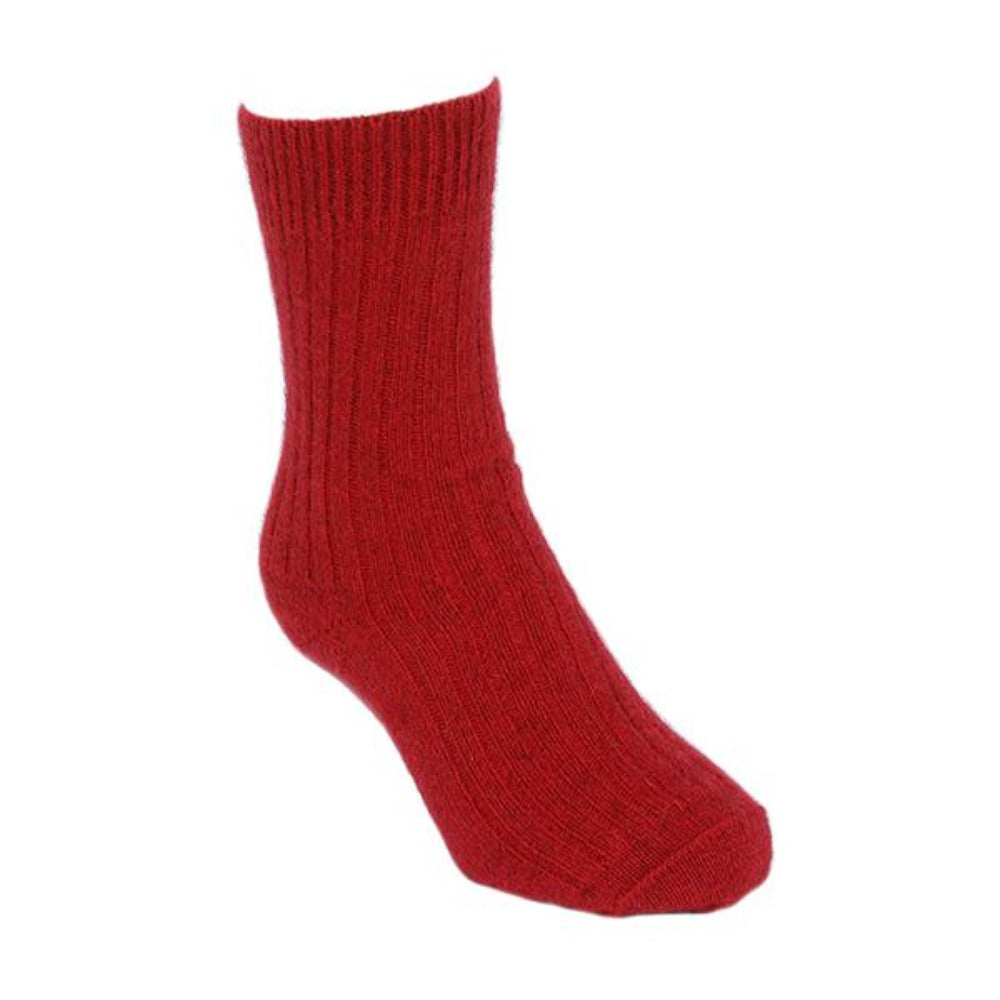 Red Casual Rib Sock