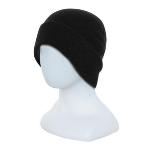 Black Double Layer Beanie - Reversible