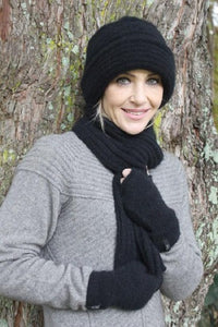 Black Ribbed Clouche Hat