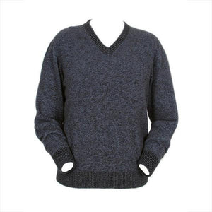Blue Marl Men's Plain V Neck Jumper