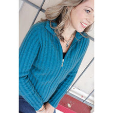 Load image into Gallery viewer, Teal Rib Cable Jacket