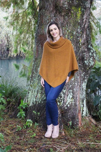 Gold Cowl Neck Poncho