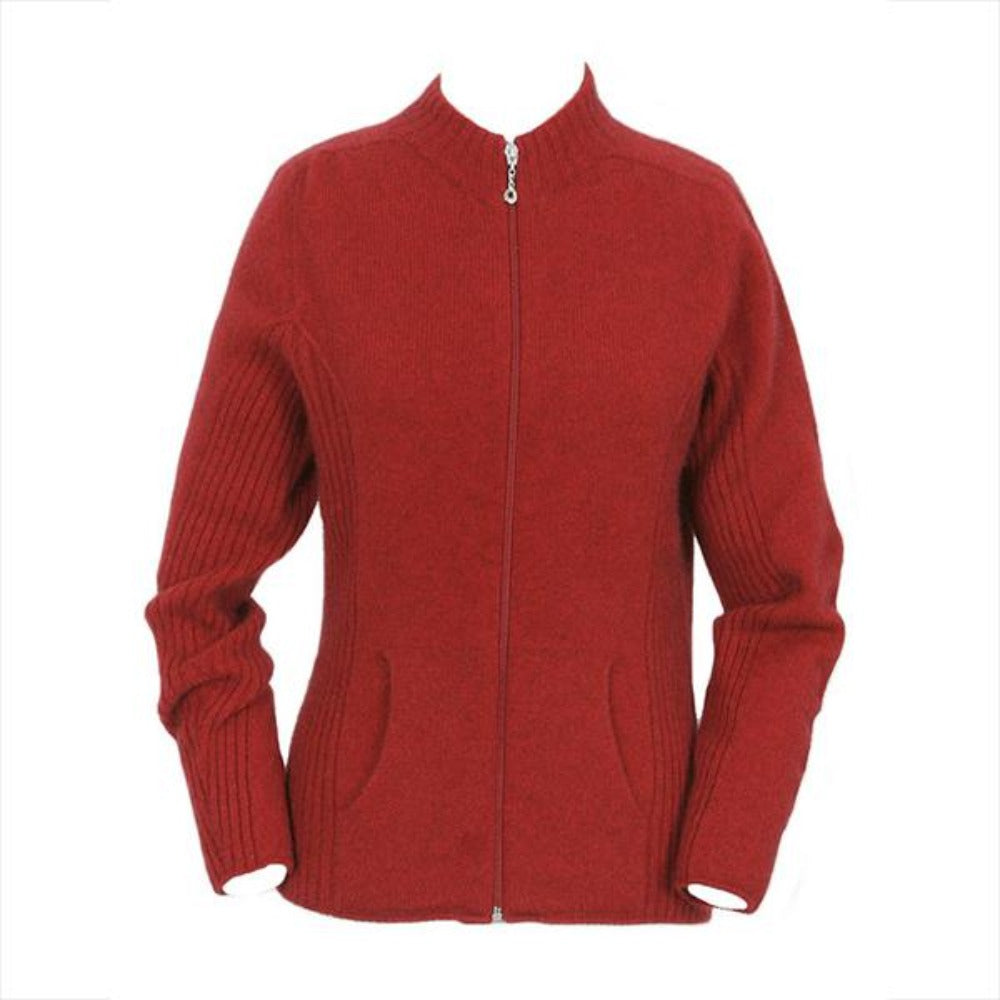 Red Rib Detail Jacket with Pockets