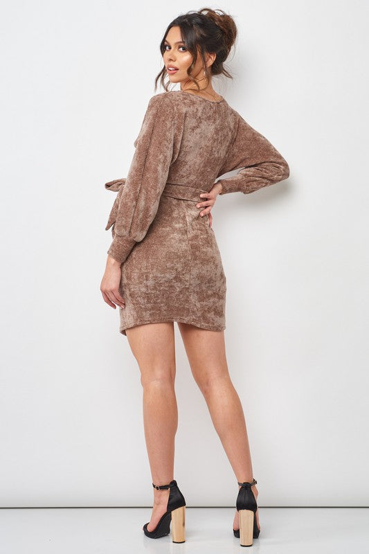 Cord surplice knit wrap dress
