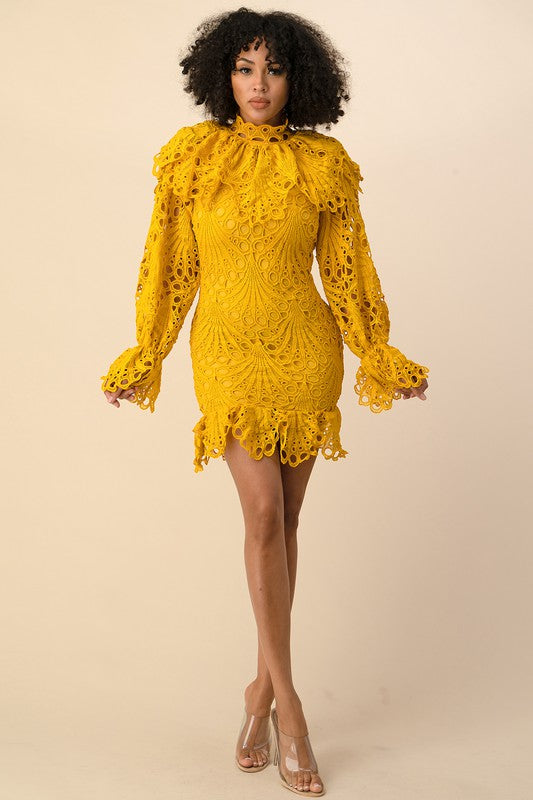 CROCHET LACE WITH BELL SLEEVE DETAILED DRESS AVAILABLE 9-15-2020