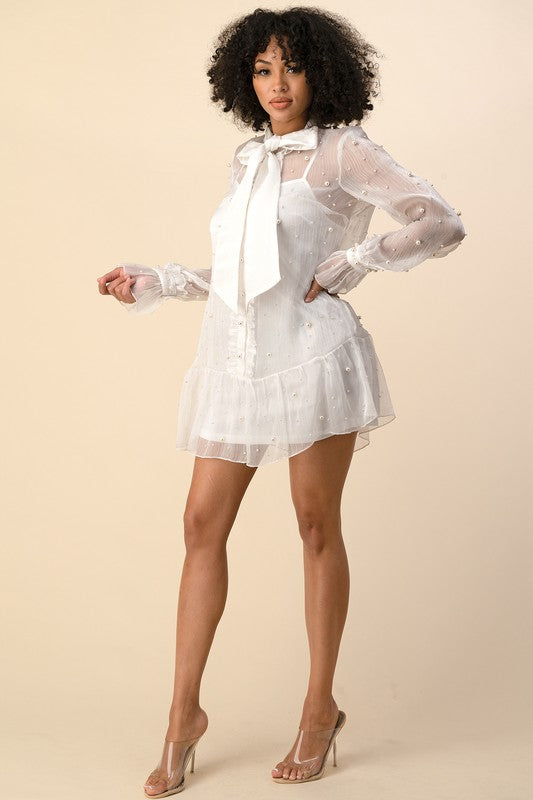 PRE-ORDERS AVALBLE 8-20-2020 FRONT SELF TIE RIBBON AND PEARLS DETAILED DRESS