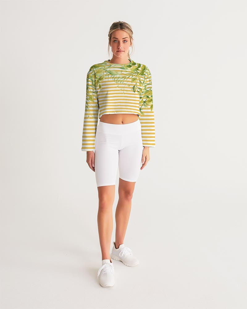 Bright Yellow Strips Women's Cropped Sweatshirt