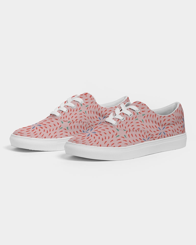 Pink Firework Women's Lace Up Canvas Shoe