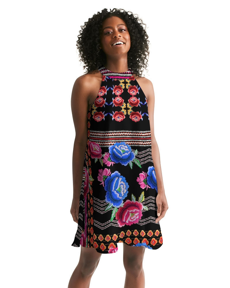 Embroidery Rose Women's Halter Dress
