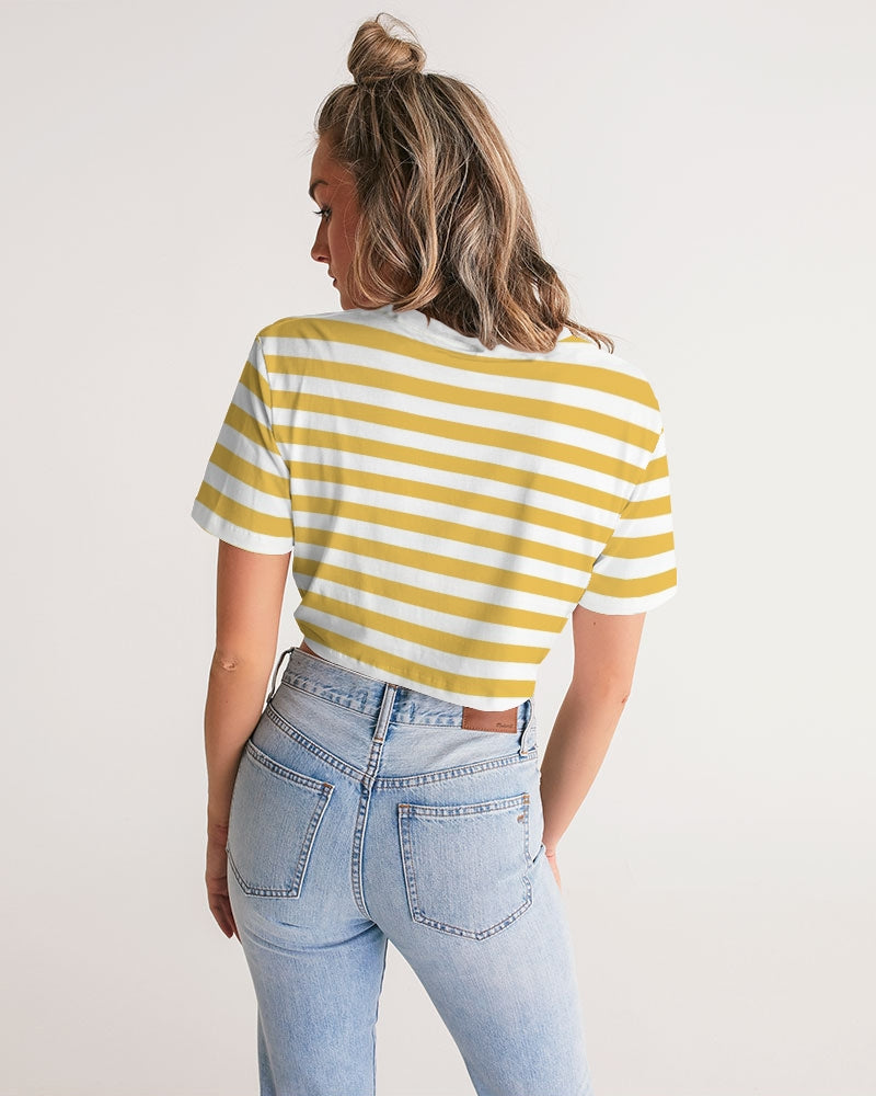 Bright Yellow Strips Women's Twist-Front Cropped Tee