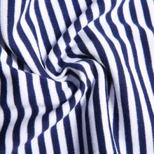 Load image into Gallery viewer, Blue Striped Footie Pajamas