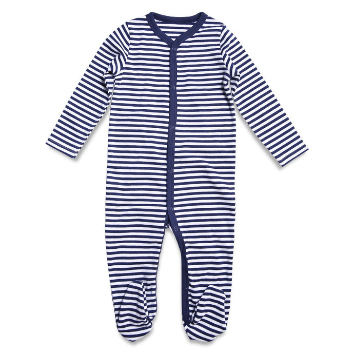 Blue Striped Footie Pajamas