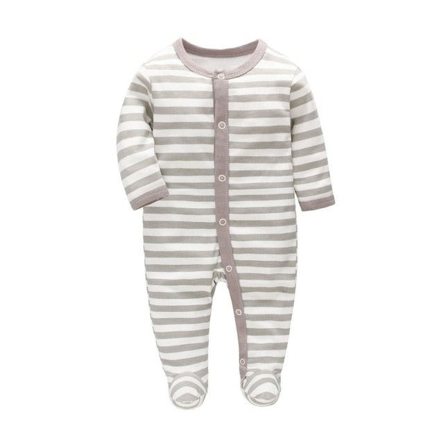Grey Striped Footie Pajamas