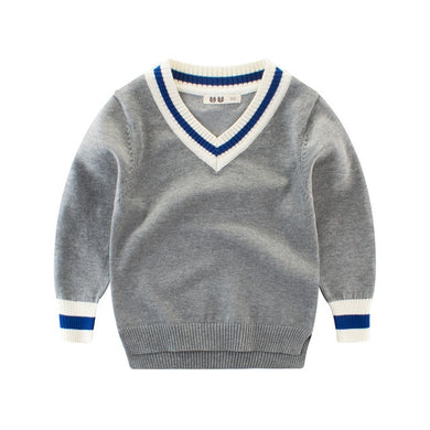 Preppy V-Neck Sweater (Multiple Colors)