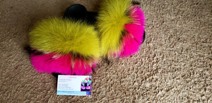 Pink and Green Mix color slippers