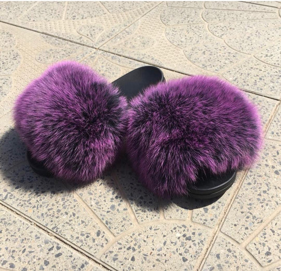 Purple Rush Fox Fur Slippers