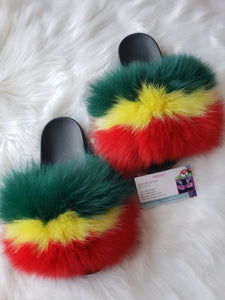 Rasta Vibration Fox Fur slippers