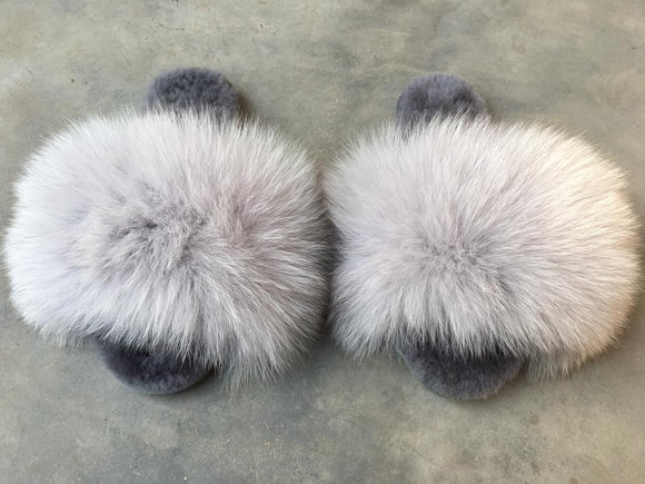Ash Grey Fox with wool slippers