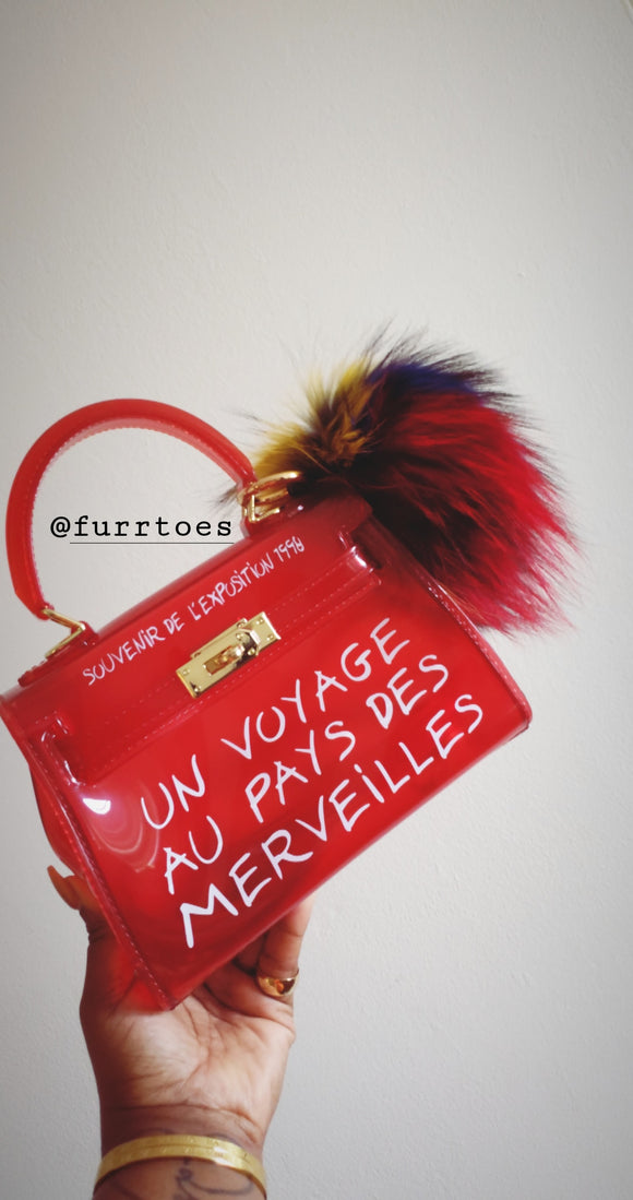 Ruby Red Candy colored transparent bag
