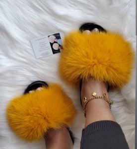 Mustard colored womens slippers