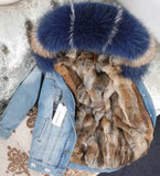 Blue and white Raccoon Mix Jean's Jacket