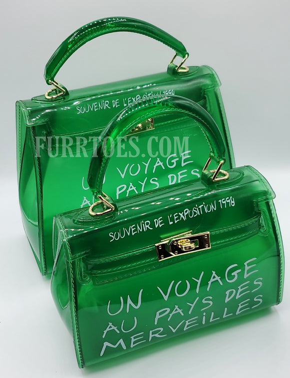 Green Candy colored transparent bag