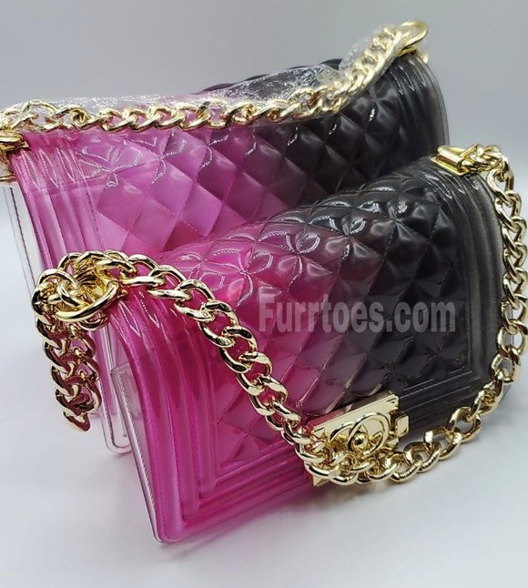 Purple and Black Transparent Diamond Panelled Jelly Bags
