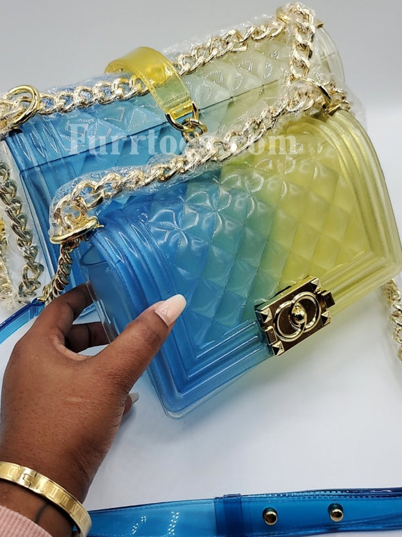 Blue and Yellow Transparent Diamond Panelled Jelly Bags