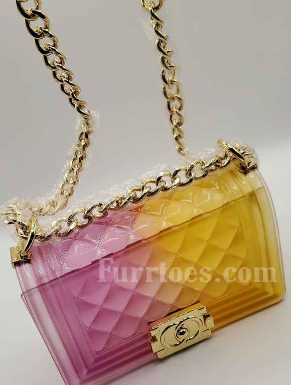 YELLOW AND PINK JELLY BAG