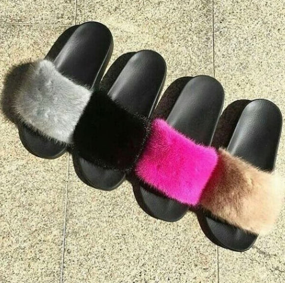 Plain Mink Fur Slippers
