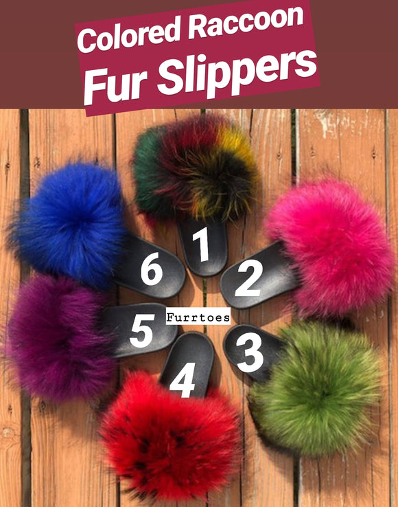 Colored Raccoon Fur Slippers