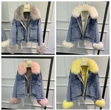 Over sized Fur Jeans Jacket