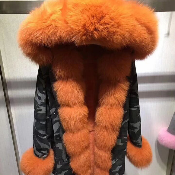 Orange camo parka fur coat