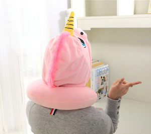 Unicorn Hooded and Neck Pillow