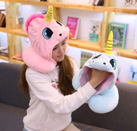 Image of Unicorn Hooded and Neck Pillow