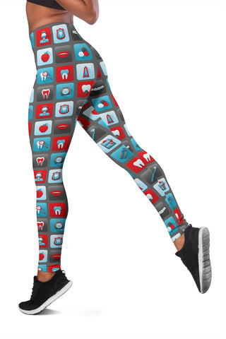 Image of CUTE DENTAL LEGGINGS ... GREAT FOR HYGIENIST, RDH, CDA, DDS, DMD