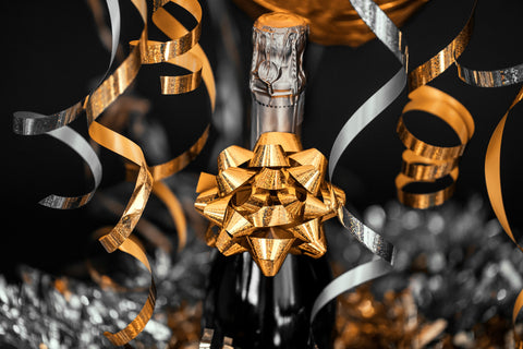 sparkling wine with bow
