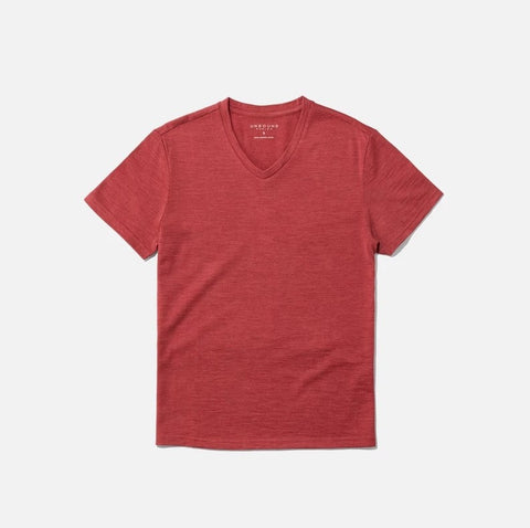 red v neck t shirt from Unbound Merino