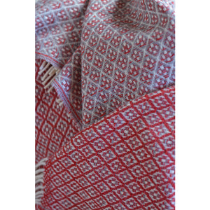 Asterlark merino wool throw blanket in scarlet and gray with flower weave pattern