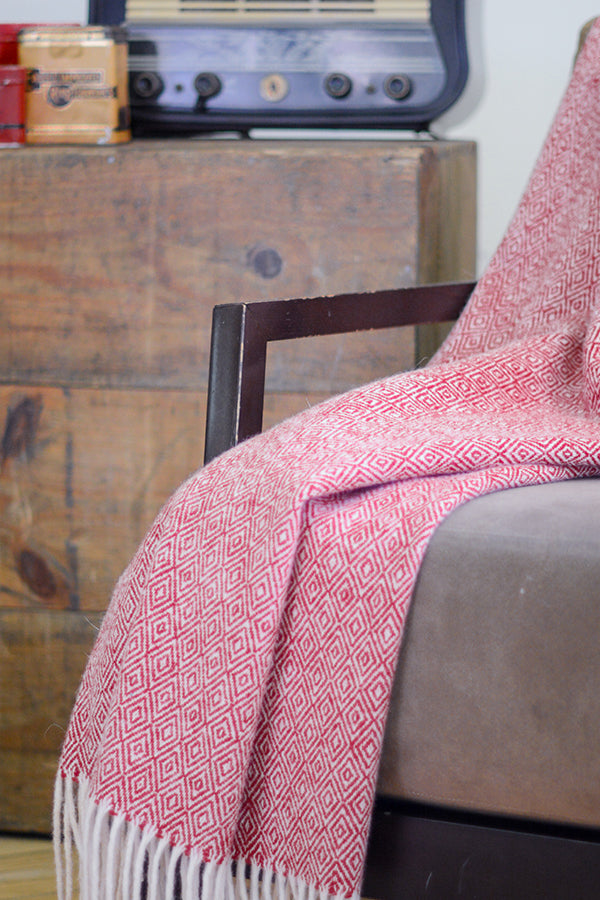 Asterlark merino wool blanket in red with double diamond weave pattern