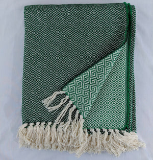 Dark green and green cotton throw with double lozenge pattern against a white background