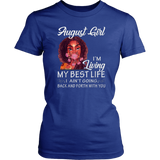 August Girl I'm Living My Best Life Black Queen Tshirt